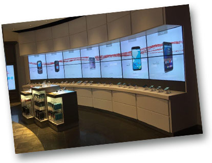 Verizon: 2x7 Video Wall with Projected Capacitive Touch Overlay and Glass Retention Bezel System