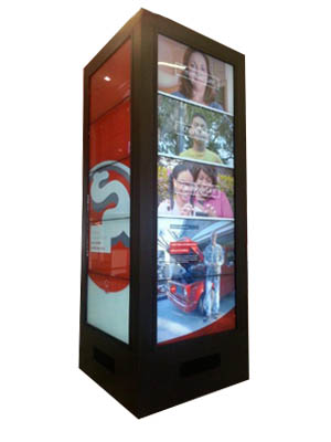Cardinal: 4 Sided 1x5 Video Wall with Infrared Touch and Glass Retention Bezel System